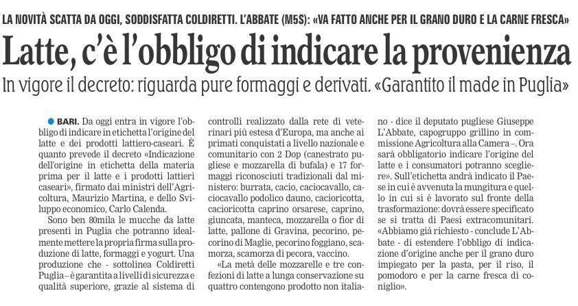 La Gazzetta del Mezzogiorno - 19.04.2017