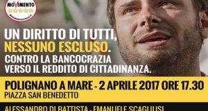 Il parlamentare 5 Stelle Alessandro Di Battista sarà nel centro storico di Polignano (BA) a partire dalle ore 17:30 con i colleghi L'Abbate e Scagliusi (M5S) per il Bancocrazia Tour