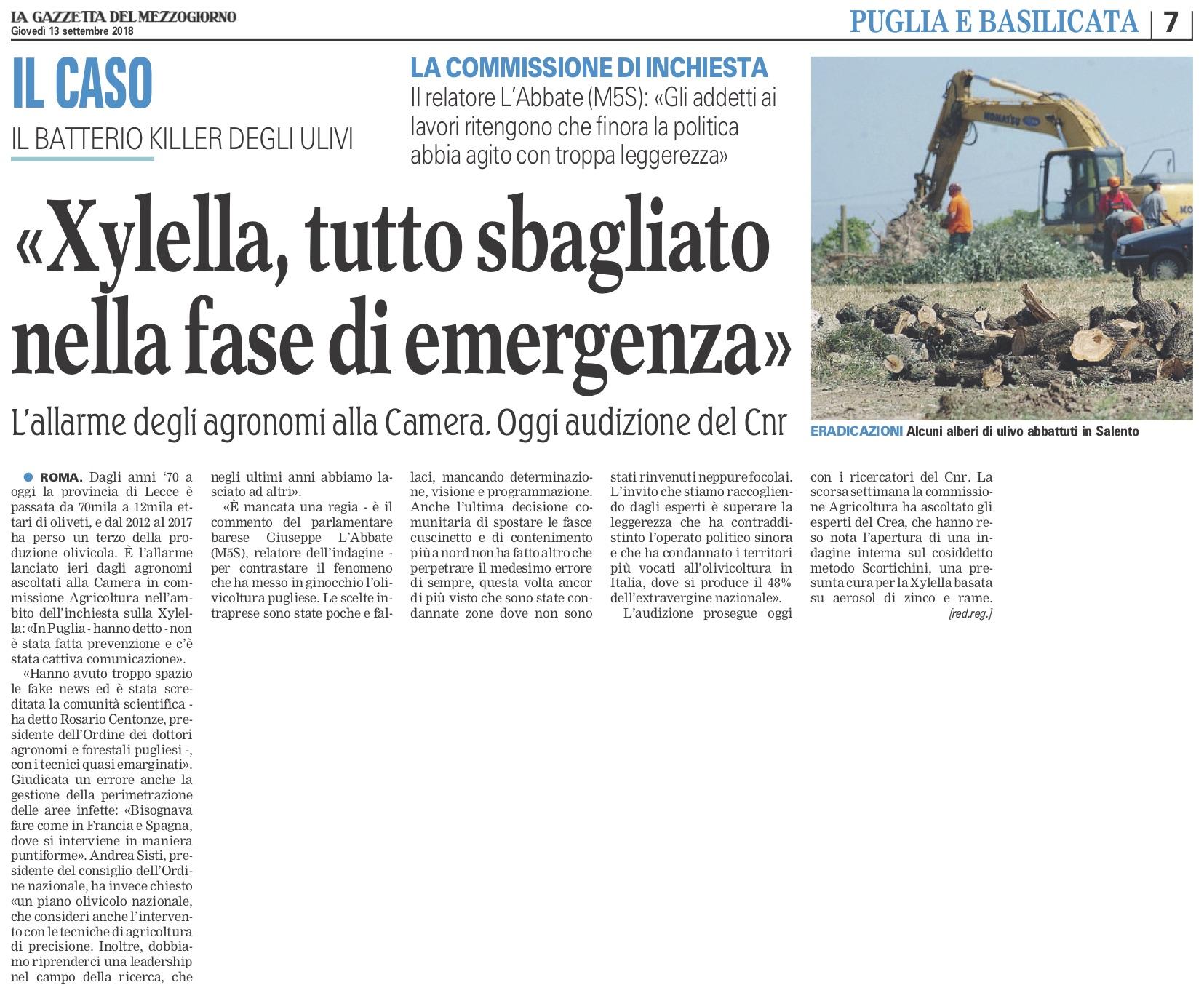 La Gazzetta del Mezzogiorno - 13.09.2018