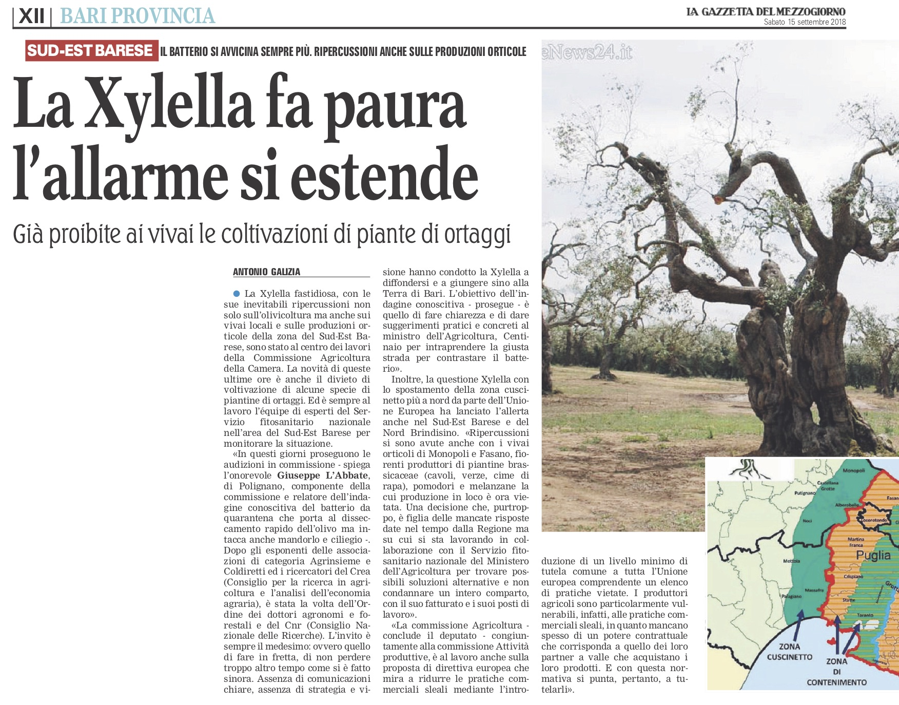 La Gazzetta del Mezzogiorno - 15.09.2018