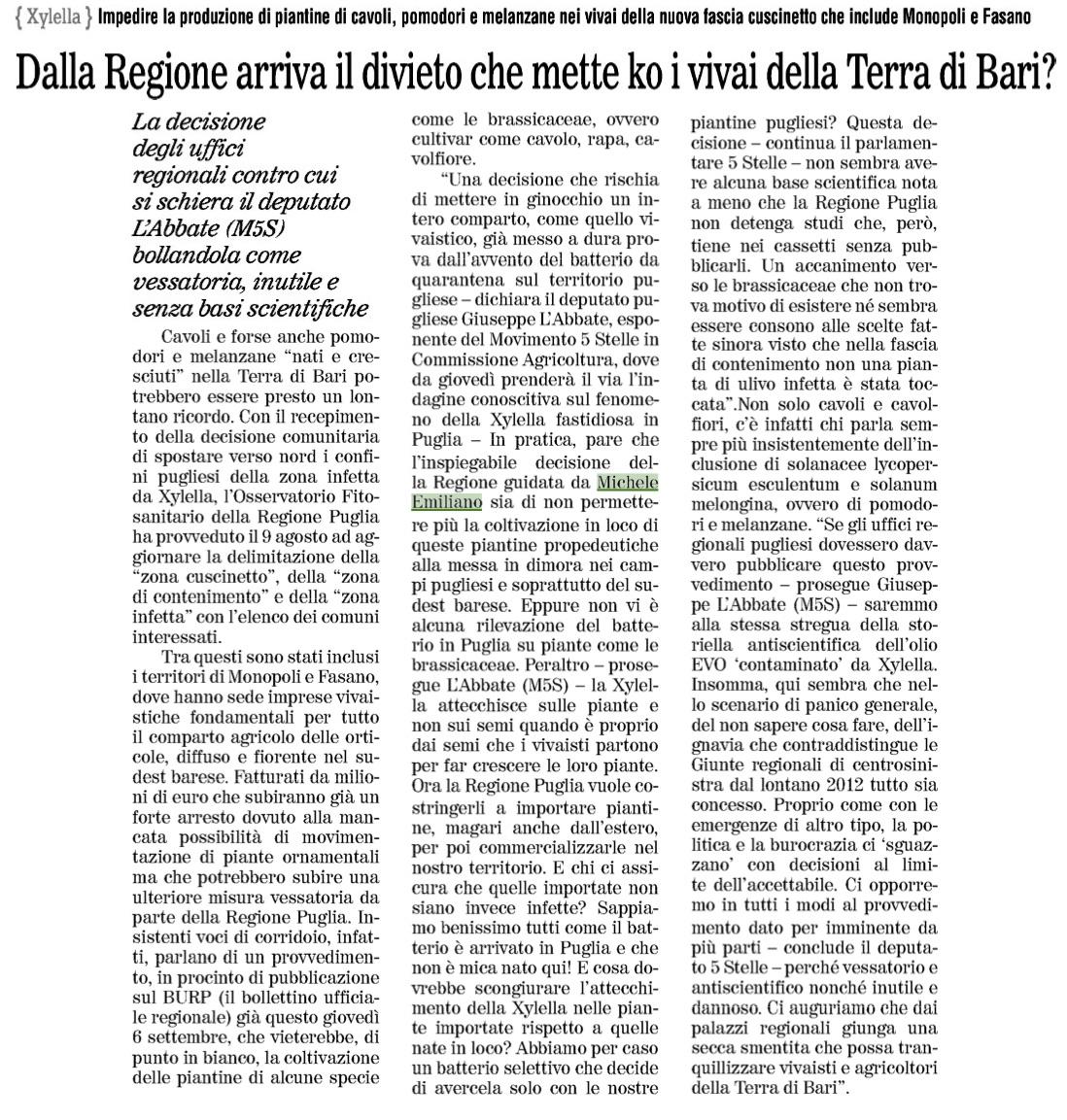 Quotidiano di Bari - 05.09.2018