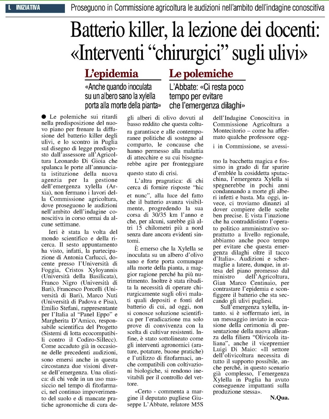 Il Nuovo Quotidiano di Puglia - 10.10.2018
