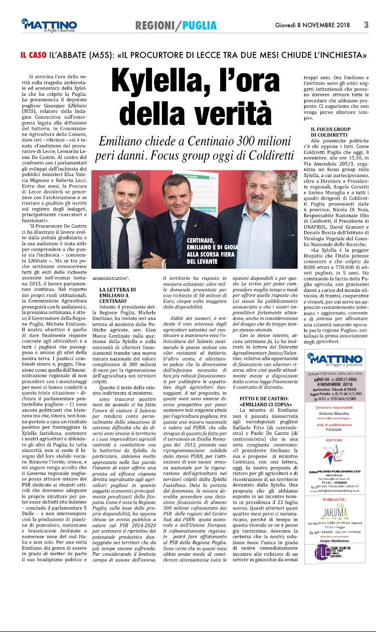 Il Mattino di Foggia - 08.11.2018
