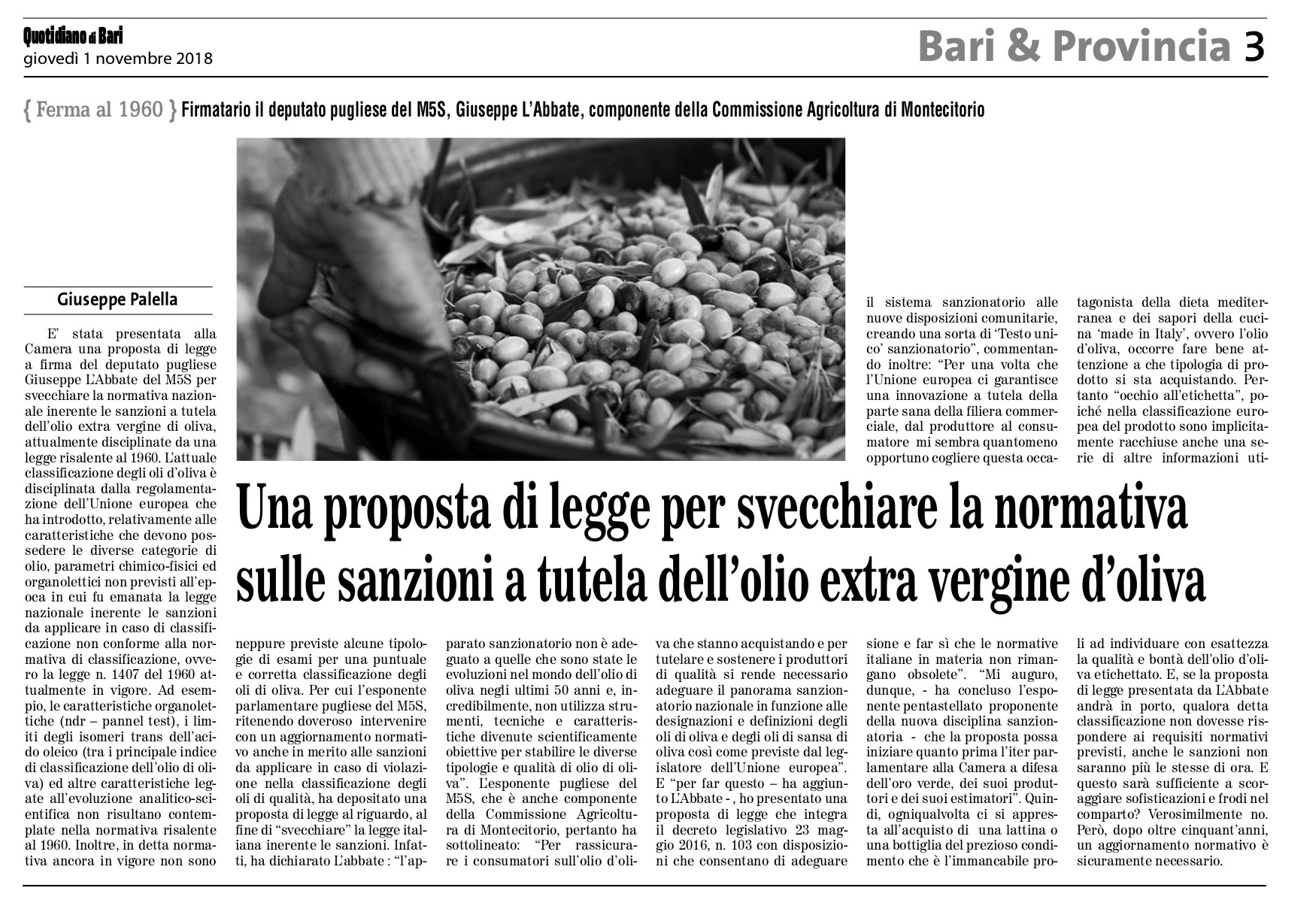 Il Quotidiano di Bari - 01.11.2018