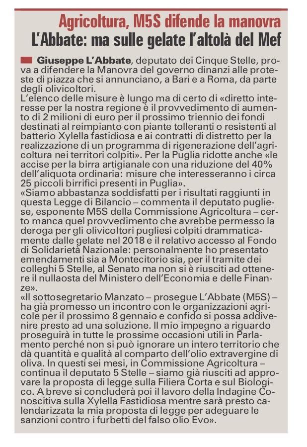 La Gazzetta del Mezzogiorno - 03.01.2019