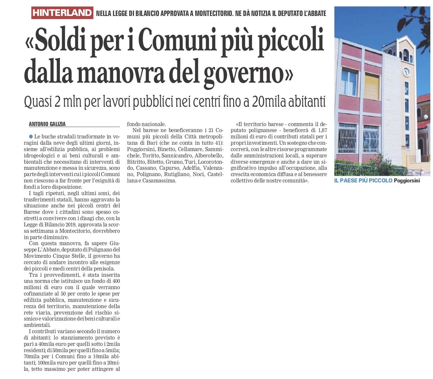 La Gazzetta del Mezzogiorno - 06.01.2019
