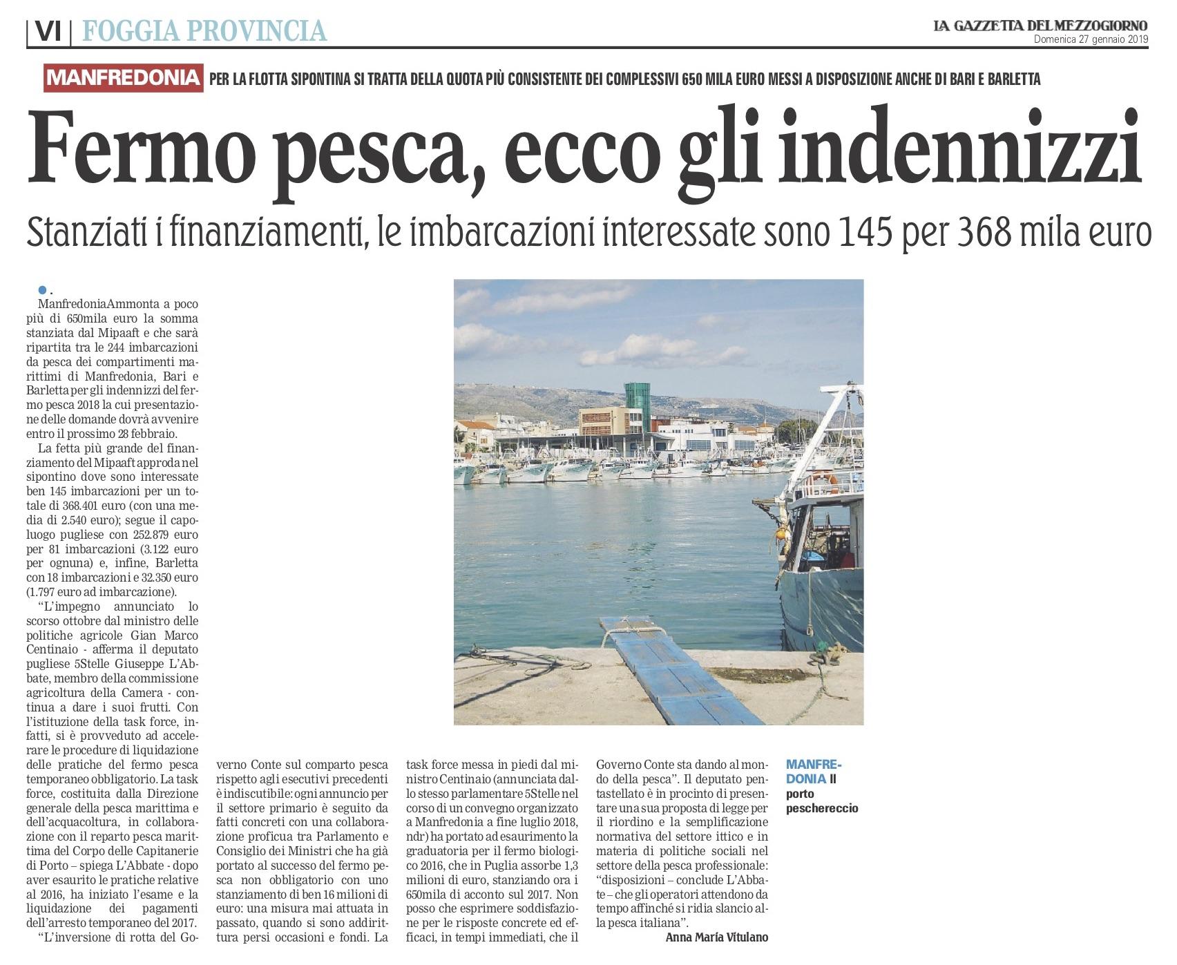 La Gazzetta del Mezzogiorno - Capitanata - 27.01.2019