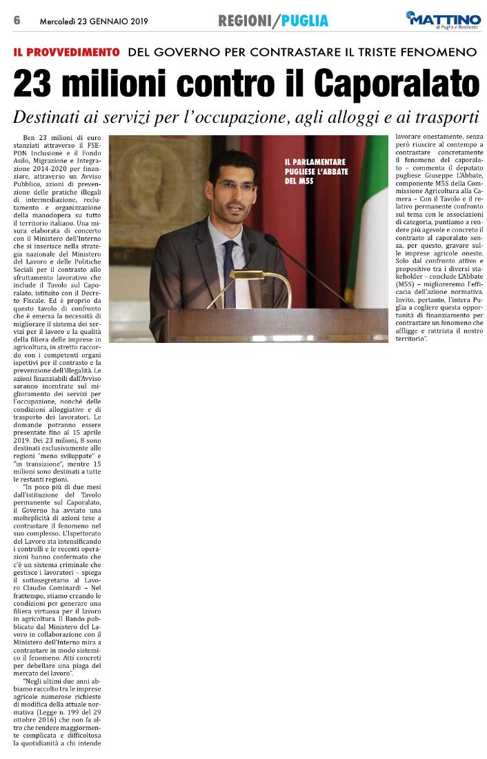 Il Mattino di Foggia - 23.01.2019