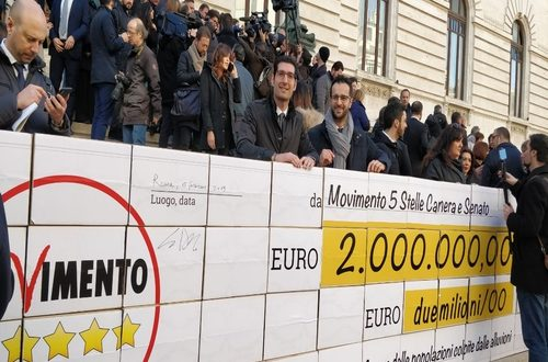Nuove restituzioni e nuovo stanziamento di fondi: il Movimento 5 Stelle questa volta dona le proprie eccedenze alla Protezione Civile