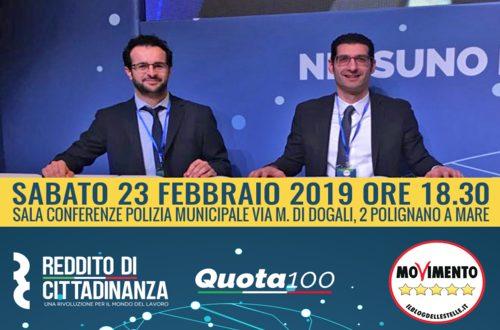 Le misure del cosiddetto Decretone al centro dell'evento organizzato a Polignano: vieni a scoprire Reddito e Pensione di Cittadinanza e Quota 100